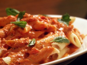 Pasta penne, con salsa vodka  