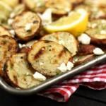 Patatas asadas con limón, eneldo y queso feta