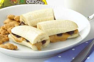 Bananas con mantequilla de cacahuetes