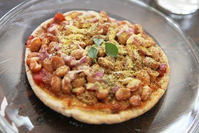 Pizza Vegetariana con frijoles