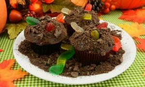 Cupcakes con gusanos
