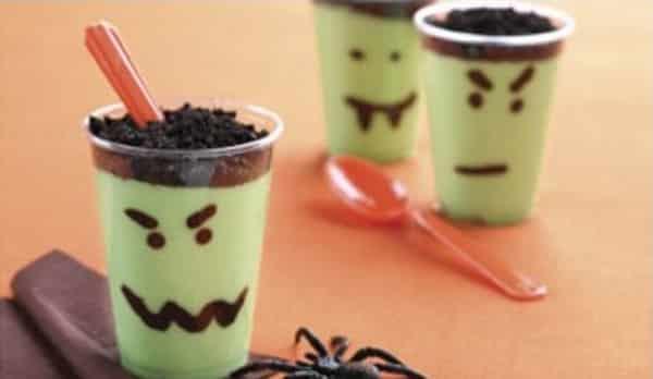 Halloween - Vasos tenebrosos de pudín