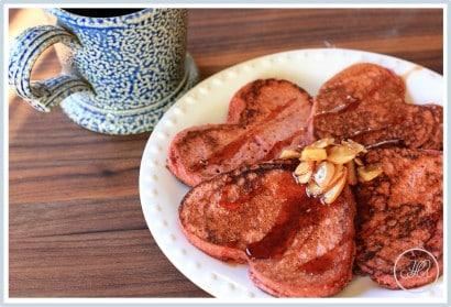 Tortitas de frambuesa y de forma de corazón