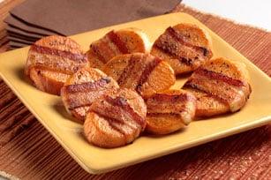 Patatas dulces con un trozo de tocino