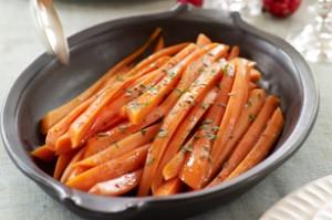 Zanahorias cubiertas en un glaseado balsámico