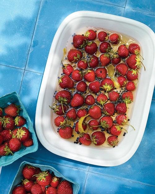 Fresas cubiertas en sirope de vainilla