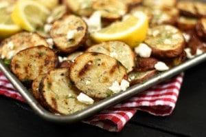 Patatas asadas con limón eneldo y queso feta