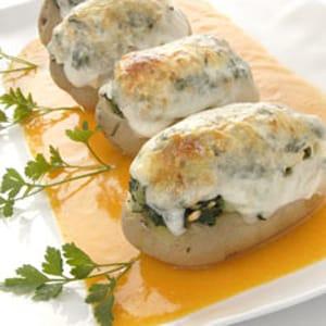Patatas Rellenas de Espinacas y Piñones