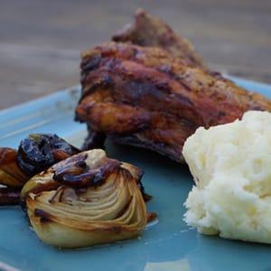Pollo Rostido con Puré de Patatas