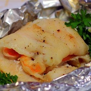 Filete de Pescado Relleno con Camarones
